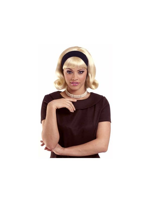 Womens Flicked Bob Blonde Wig with Fringe and Black Headband 50s Dress Up Accessory - Main Image