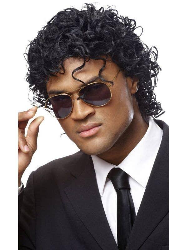 Wet-Look Michael Jackson Curly Black Men's Wig Main Image