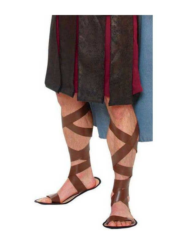 fd40c5a74b57 Men s Gladiator Roman Warrior Brown Costume Sandals Front