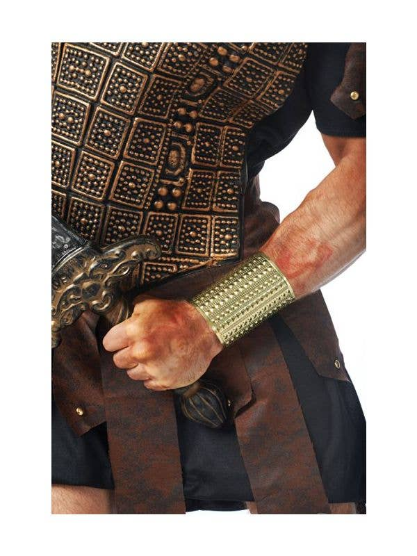 Adult S Gold Roman Wrist Cuff Patterned Roman Costume