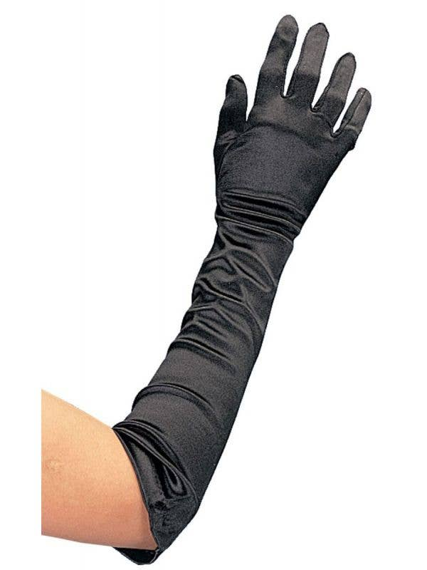 Women's Extra Long Black Satin Costume Accessory Gloves