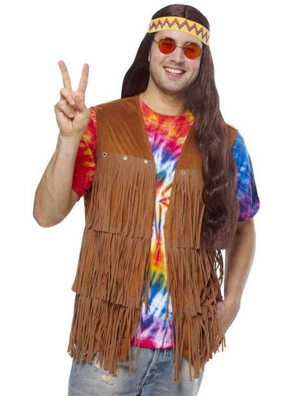 Men's Brown Fringed Hippie Costume Vest