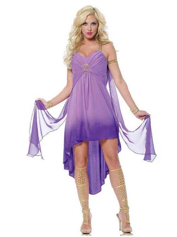 Sexy Purple Roman Goddess Women's Costume Main Image