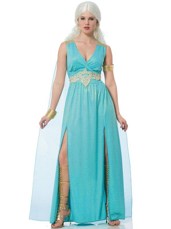 Women's Blue Mythical Goddess Fancy Dress Costume Main Image