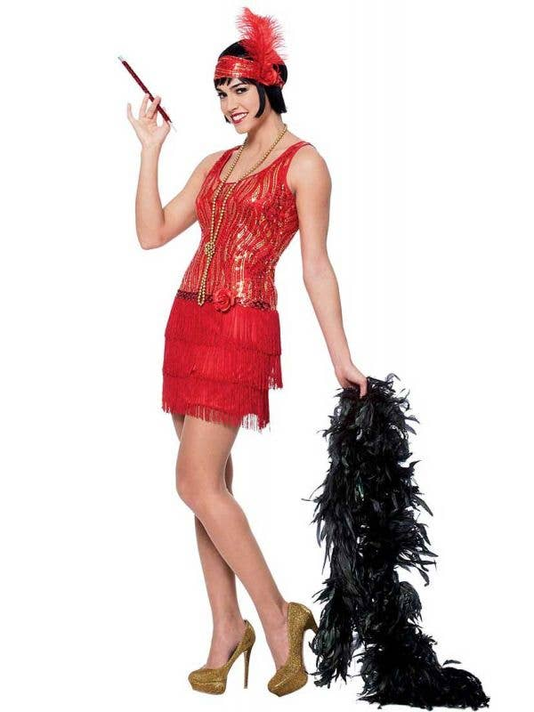 Women's Red Sequined 1920's Flapper Costume Front Vie