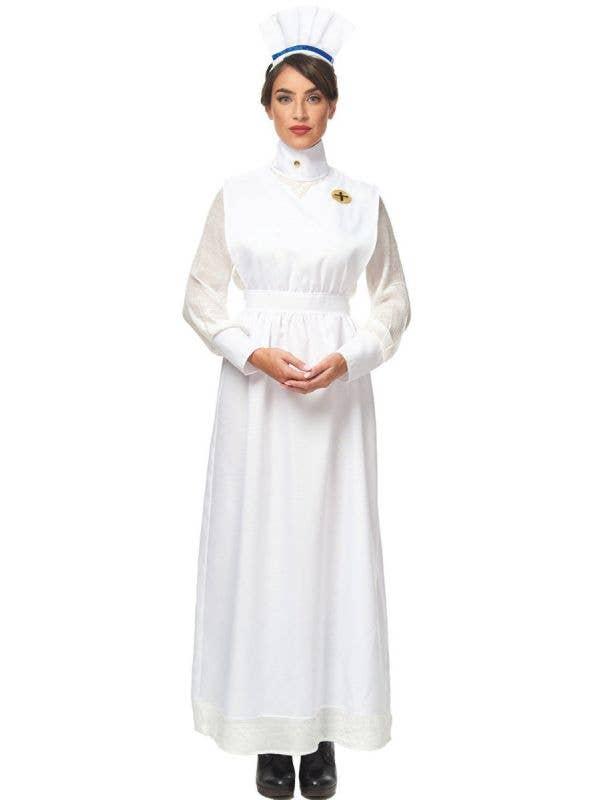 Women's Long White Vintage 1800's Nurse Uniform Fancy Dress Costume Main Image