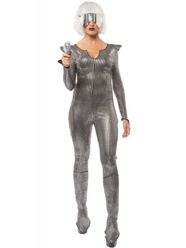 Galaxy Girl Women's Metallic Silver and Black Space Costume Main Image