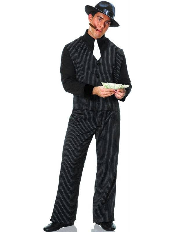Men's Black and White Pinstripe Gangster 1920's Fancy Dress Costume Main Image