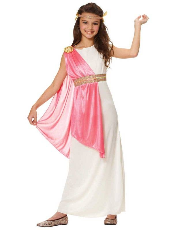 Girls Roman Goddess Fancy Dress Costume Front View