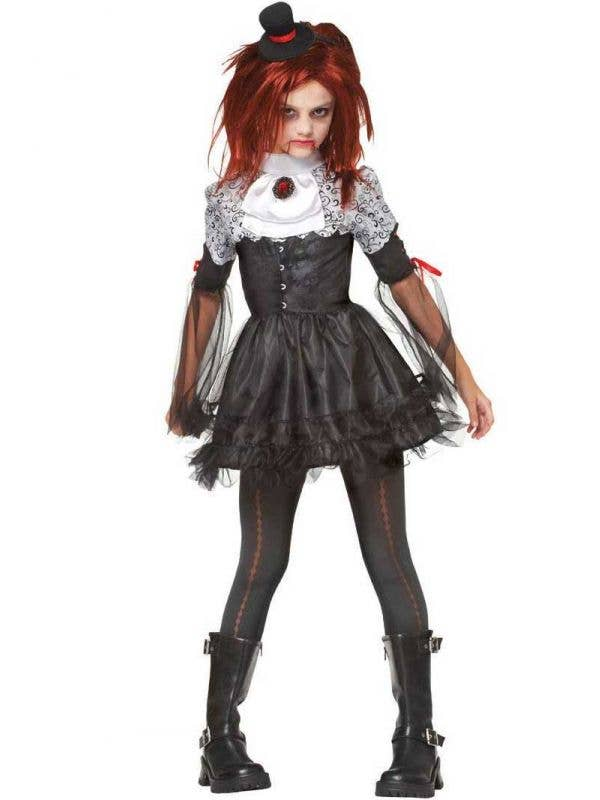 Girl's Punk Vampire Fancy Dress Costume Front View