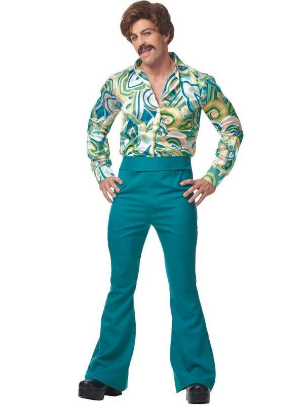 Men's Retro Green Disco Dude 1970's Fancy Dress Costume Main Image