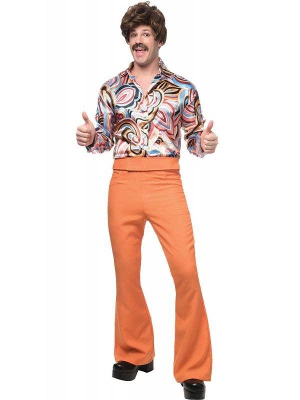 Men's Bright Orange Retro Disco Fancy Dress Costume Main Image