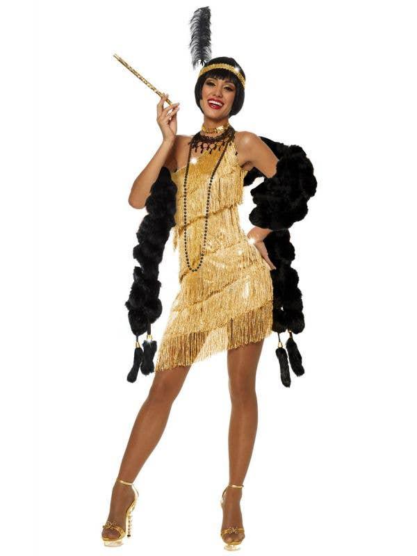 1920's Gold Women's Flapper Fancy Dress Costume Front View