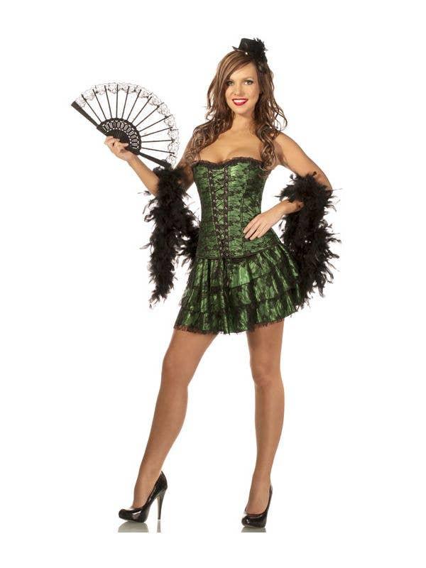 Plus Size Womens Latin Sexy Green Corset And Skirt Set
