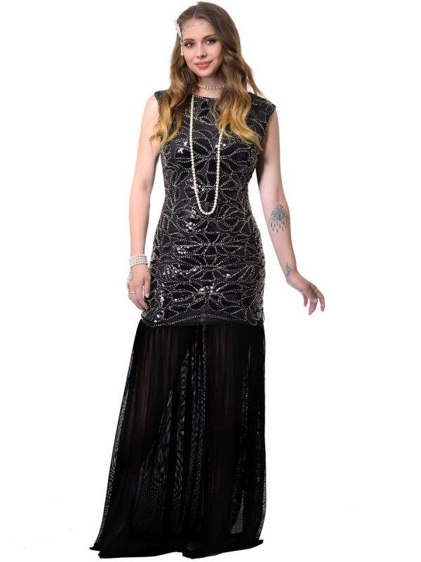 Long Black Deluxe 1920s Hollywood Gatsby Dress Costume for Women - Front Image