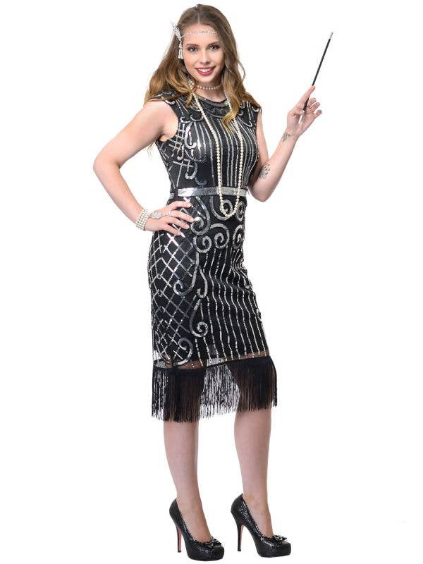 Deluxe 1920s Black and Silver Sequin Vintage Gatsby Dress Costume for Women -  Front Image