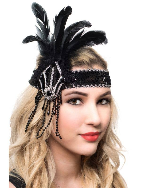 Black and Silver Sequins and Feathers Flapper Headband