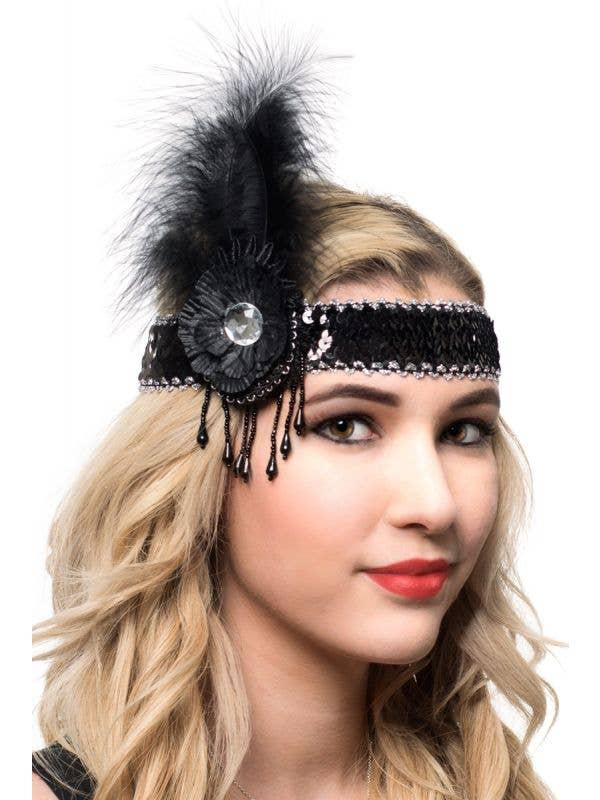 Black and Silver Feather Headband with Sequins and Beads
