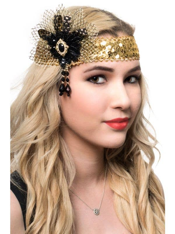 Black and Gold Sequined 1920's Flapper Headband