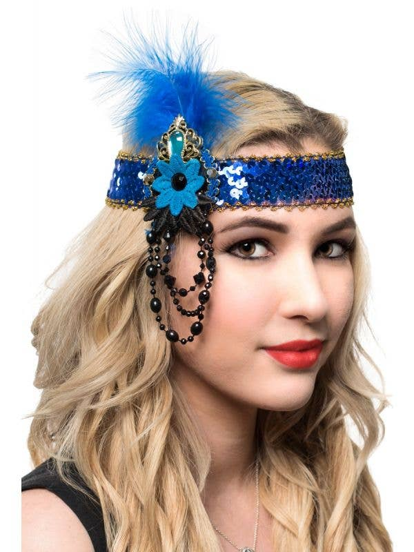 Blue and Gold Flapper Headband with Sequins and Beads - Main Image