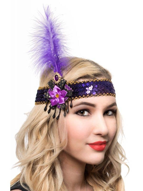 Purple Sequin Feather and Beads Flapper Headband