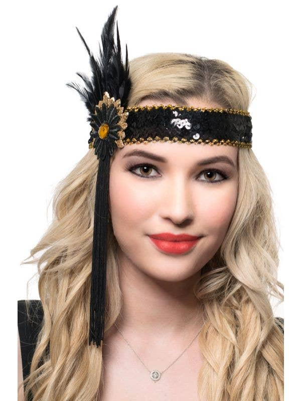 Black and Gold Feather and Tassels Flapper Headband