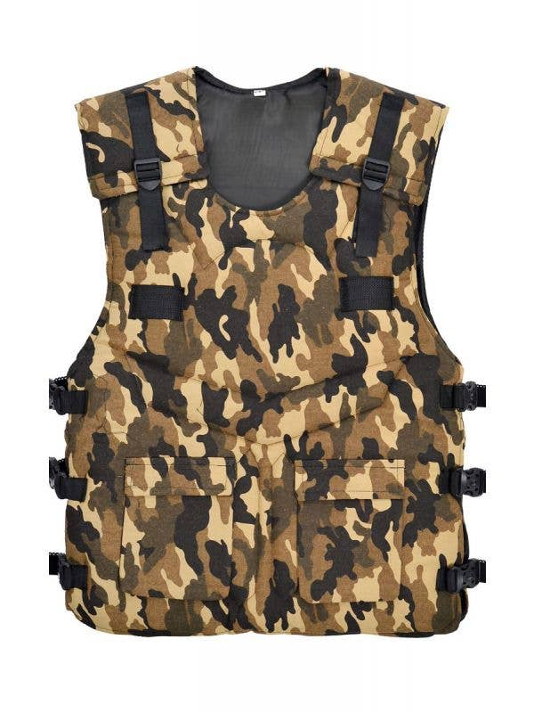 Mens Military Army Camo Costume Special Forces Vest Main Image