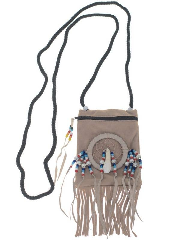 Cream Suede Native Indian Costume Accessory Pouch