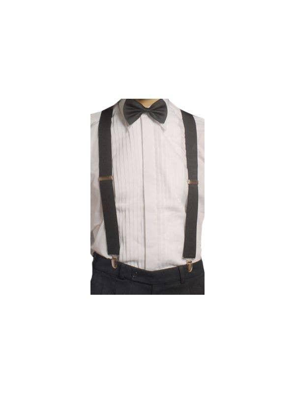 Roaring 20's Black Elastic Suspenders Costume Accessory