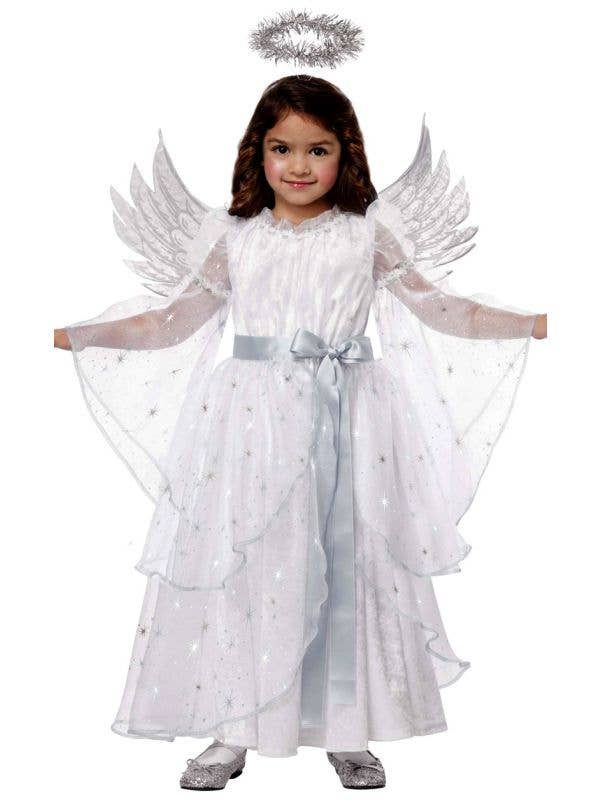 Toddler Girls White Christmas Angel Costume Front Image