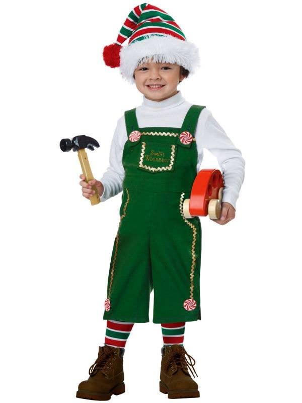 Jolly Lil Green Elf Toddler Kid's Christmas Fancy Dress Costume Main Image