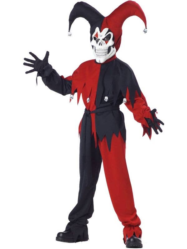 Boy's Evil Jester Scary Halloween Dress Up Costume View 1