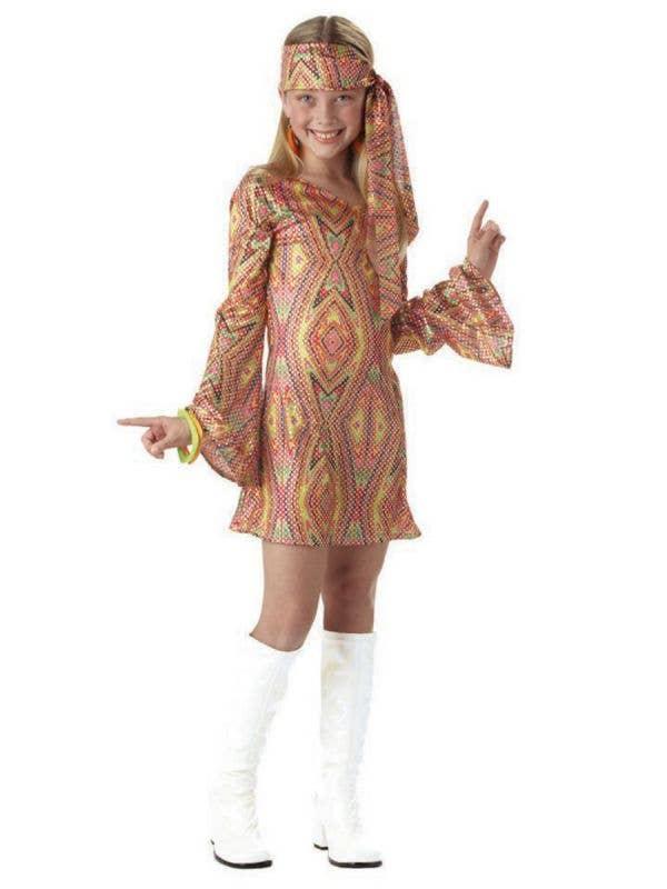Girl's Retro Disco Dancer 1960's Costume Front View