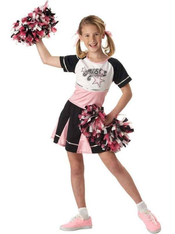 Girl's All Star School Cheerleader Fancy Dress Costume Front View