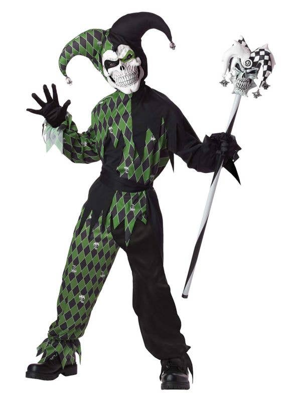 Black and Green Jokes On You Jester Boys Halloween Costume Main Image