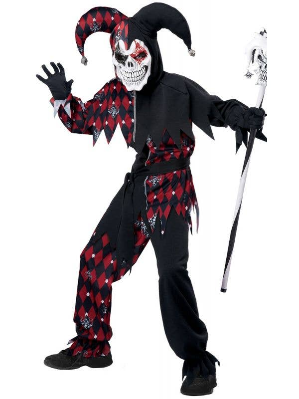 Black and Red Sinister Jester Harlequin Boy's Costume Main Image