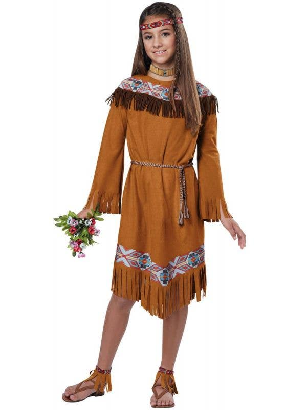Girls Classic Native American Indian Fancy Dress Costume Main Image