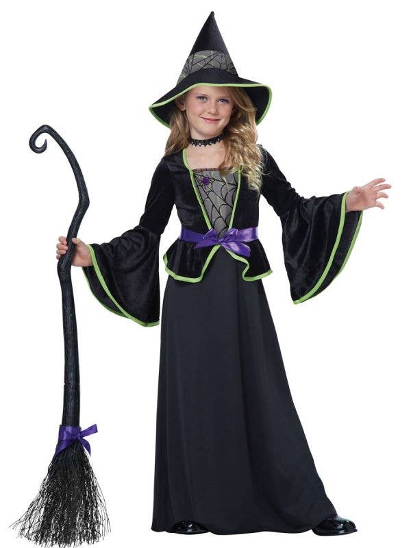 Black Witch Classic Girl's Halloween Fancy Dress Costume Front View