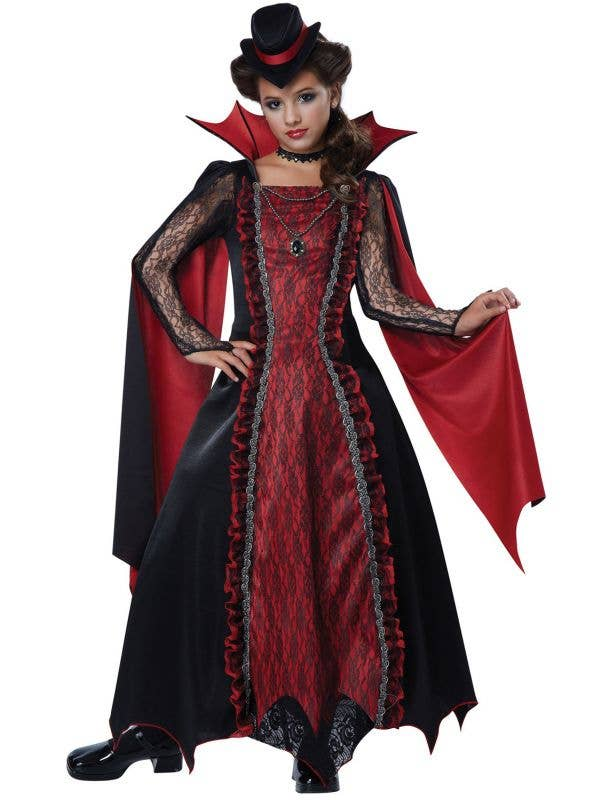 Girls Red and Black Victorian Vampire Halloween Costume
