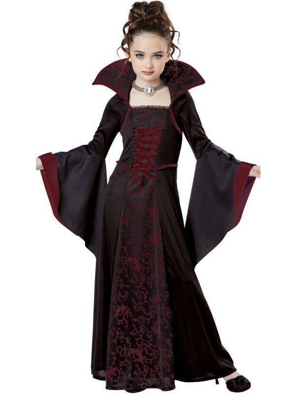 Girl's Royal Red Vampire Halloween Fancy Dress Costume Main Image