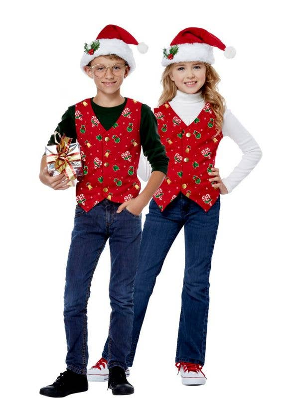Christmas Kid's Unisex Red Holiday Costume Vest and Hat Main Image