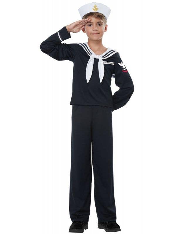 Black Navy Sailor Boys Occupation Uniform Costume Main Image
