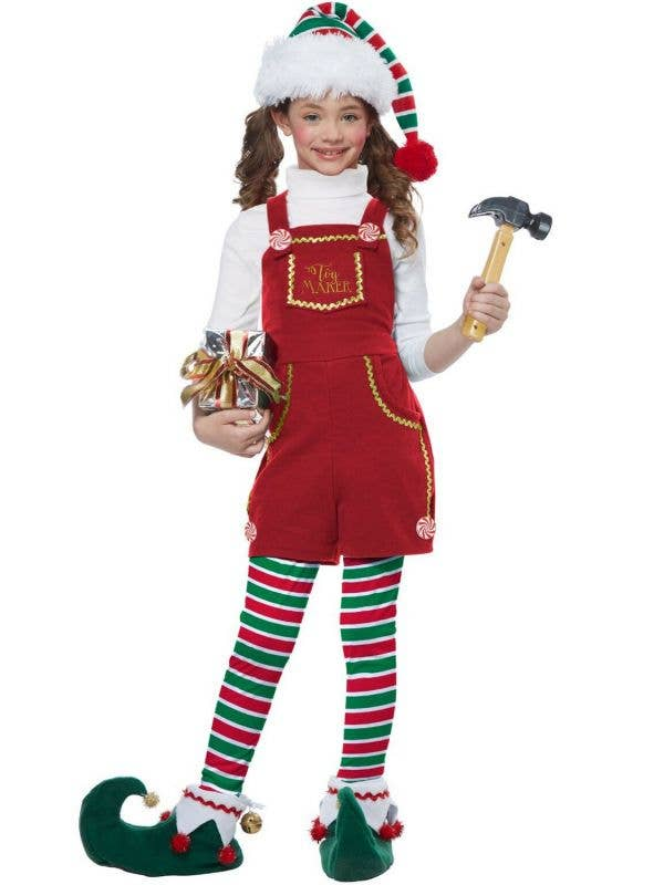 Girl's Red Holiday Toymaker Elf Christmas Fancy Dress Costume
