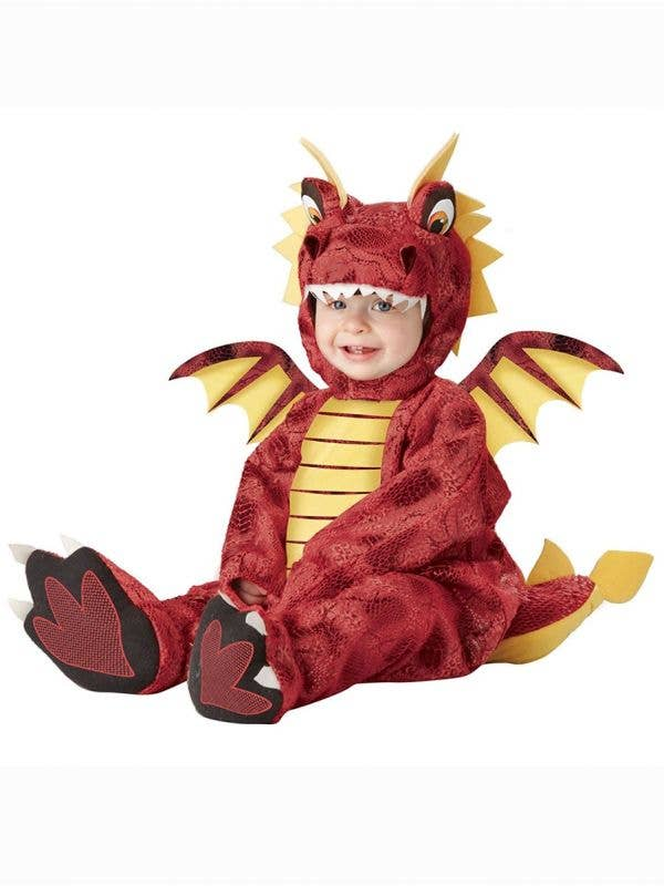 Little Adorable Red Dragon Fancy Dress Costume for Babies Front View