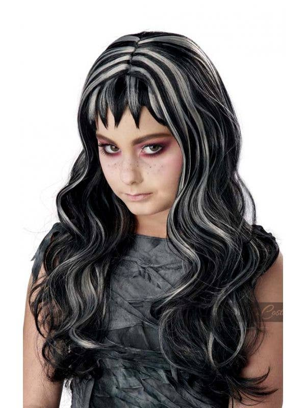 Gothic Girl's Long Wavy Black and Grey Streaks Halloween Costume Accessory Wig