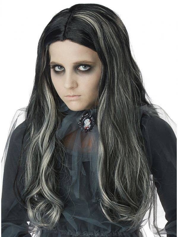 California costumes bloody Mary legend kids long black curly halloween costume wig with white streaks-Main Image