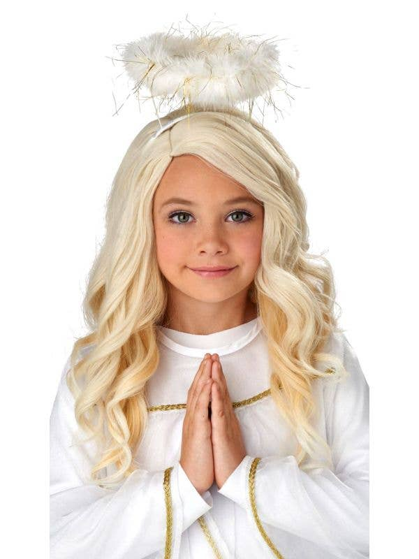 Girl's Wavy Blonde Angel Wig Costume Accessory