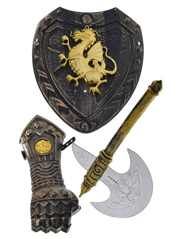 3 Piece Child's  Medieval Knight Weapon Accessory Set Includes Shield Axe and Arm Guard