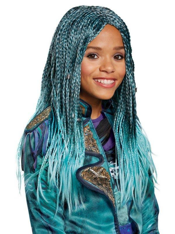Girl's Uma Descendants 2 Teal Blue Costume Wig With Plaits Main Image