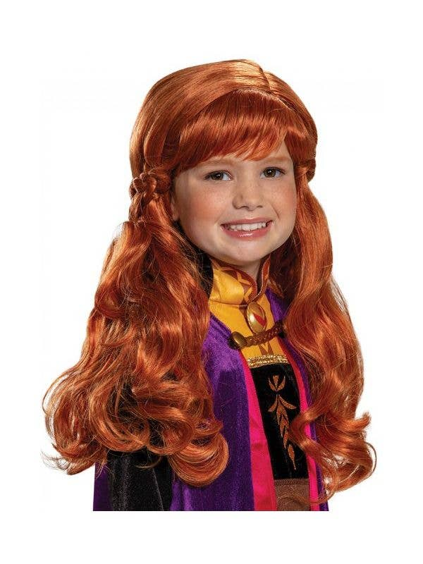 Girls Anna Frozen 2 Auburn Red Deluxe Wig Front Image
